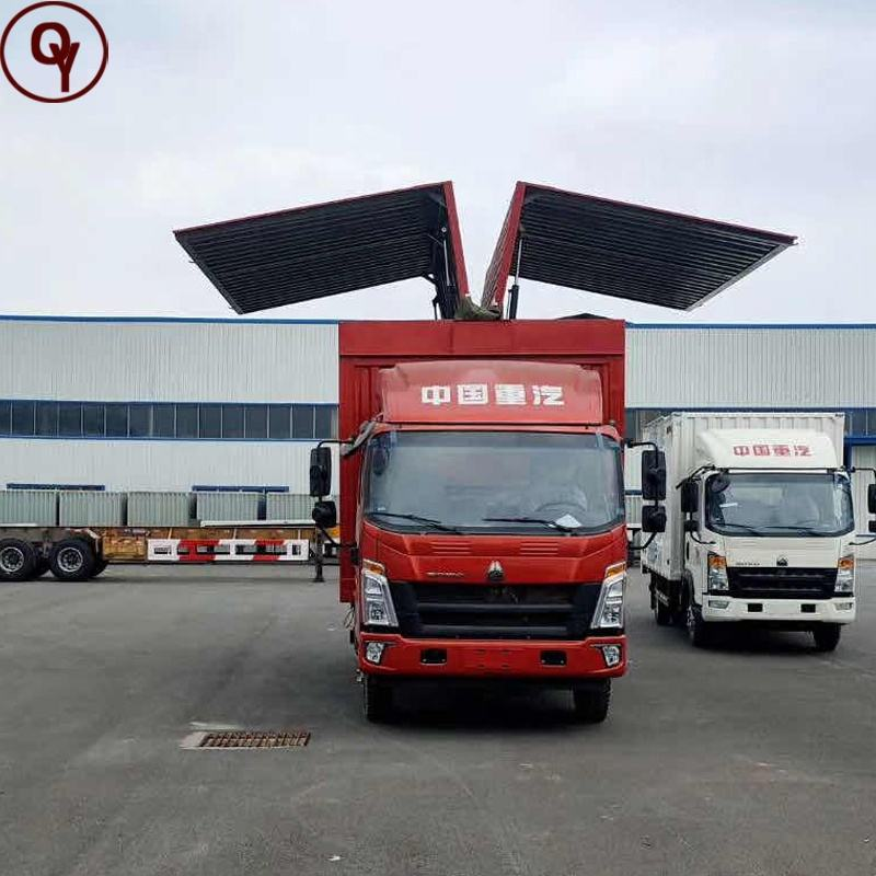 Sinotruk 4X2 Left Hand Drive /Right Hand Drive Two Sides Wing Van Truck