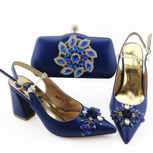 Italian shoes to matching bag set Party leather women evening shoes bag set Italian design shoes set