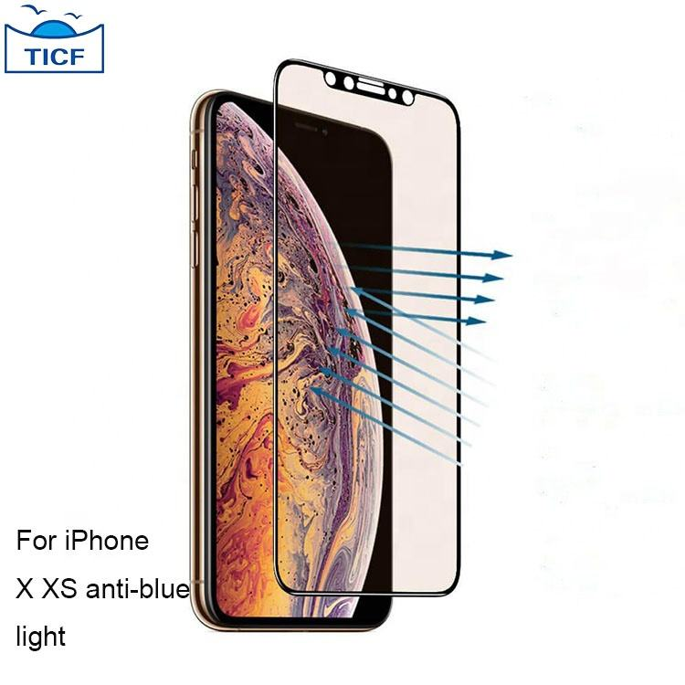 0.33 mm screen protector anti blue light screen protector tempered glass for iPhone x xs full glue screen protector
