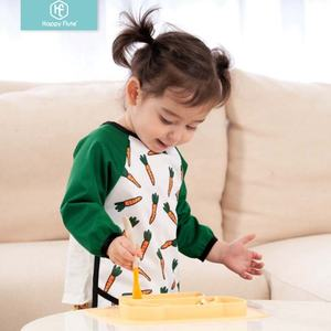 HappyFlute fashion 100% Polyester PUL fabric waterproof feeding baby bibs with long sleeves