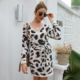 New arrival lady fashion v neck long sleeve leopard ladies dresses vestidos mature women sexy mini dress