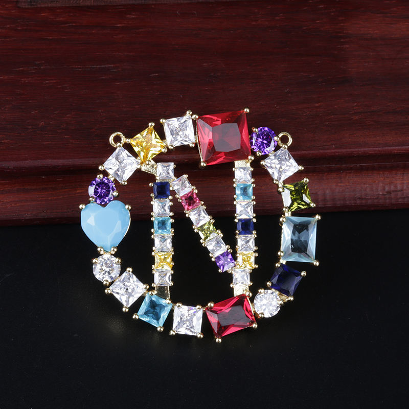 Hot Selling Initials Alphabet Pave Rainbow CZ Letter A-Z Large Charm Pendant For Making Jewelry Necklace
