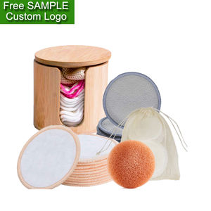 Pack Set of 12 14 16 18 Pieces Makeup Cosmetic Cotton Reusable Pad Round Make-Up Washable bamboo makeup remover pads with bag