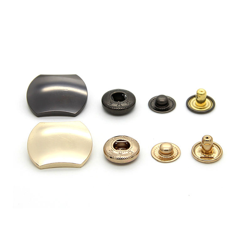 Factory Direct Brass 4 Part New Snap Button Metal Rectangle Square Snap Button