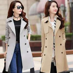 Office Ladies Double Breasted Slim Fit Long Trench Coat With Belt