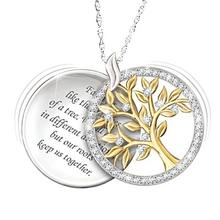 Luxury Delicate Circular Carving Sterling Silver Life Tree Pendant Necklace Jewelry Diamond Pendant Mother's Day Gift