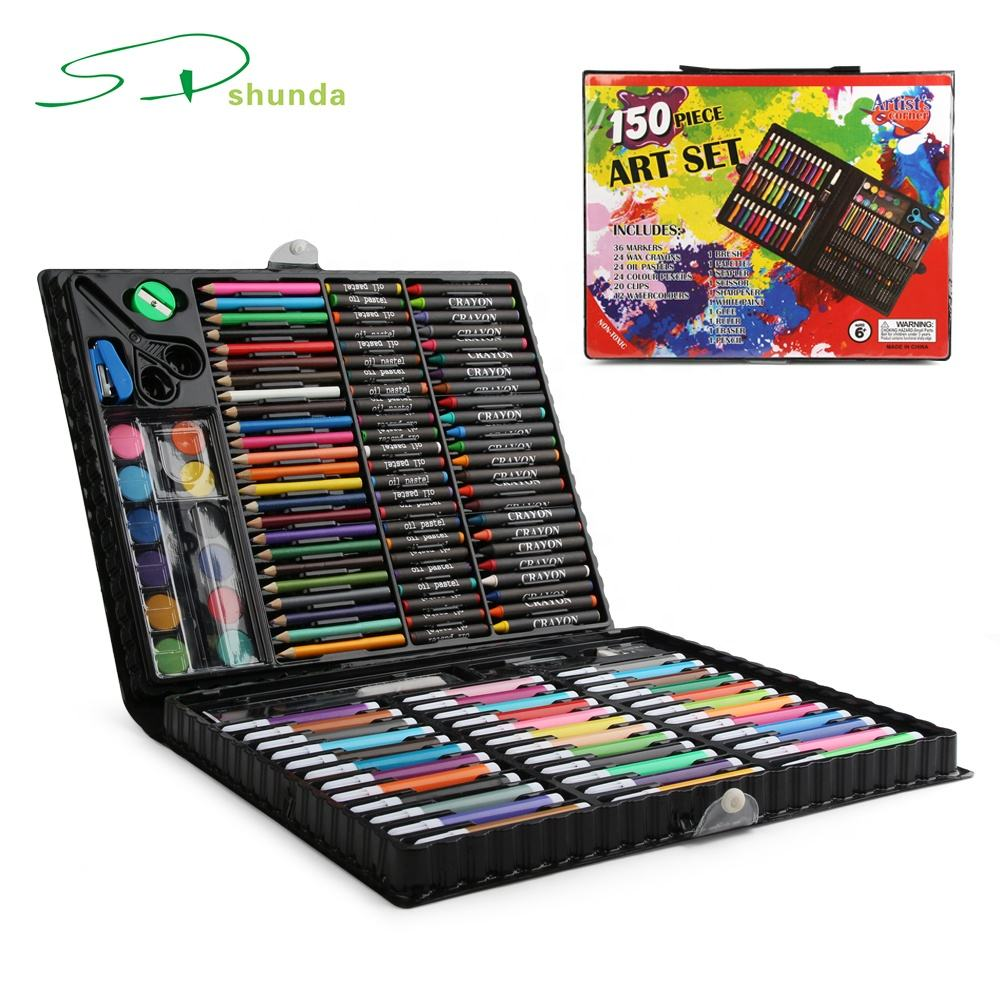 School Kids Box Watercolor Pencil Crayon 150 Pieces Drawing Art Supplies Set for Children