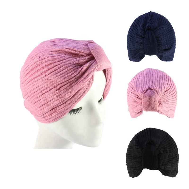 HZM-18200 Wholesales Women Acrylic Yarn Turban Hat Lady Indian Muslim Knitted Hat