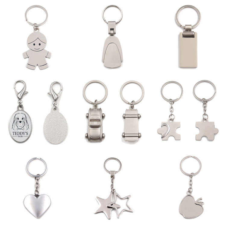 Wholesale Cheap Sublimation Rectangle Logo Zinc Alloy Stainless Steel Metal Blank Edc Key Chain Keychain With Custom Logo