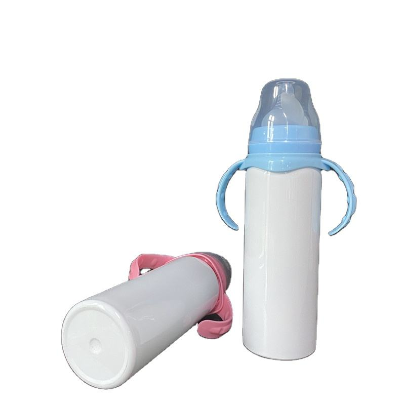 For Heat Press Printing double walled Stainless steel DIY white blanks sublimation 8oz 240ml baby Toddler baby feeding bottles