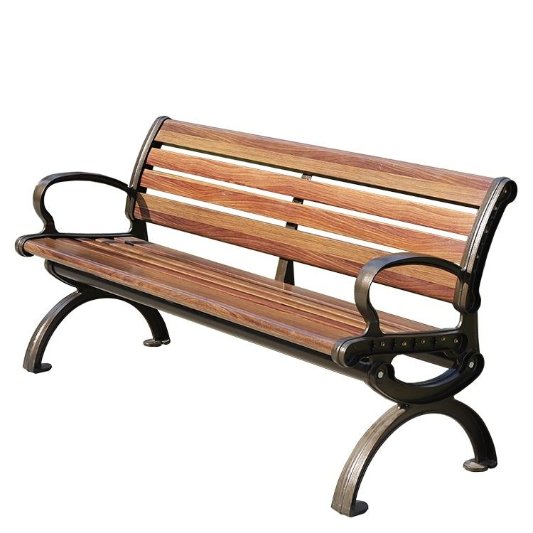 Rustic modern aluminum metal fiberglass outdoor wooden benches seating park garden patio benches furniture