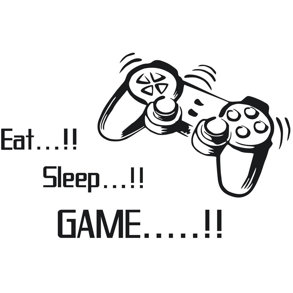 Eat Sleep Game Wall Stickers,Video Gamer Boy Wall Decals for Kids and Boys Playroom Decoration,DIY Vinyl Art Kids Murals