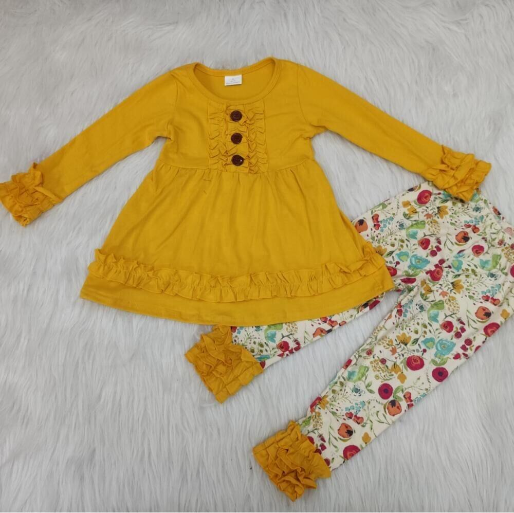 Baby girls floral solid color ruffle tunic mustard design floral icing ruffle legging kids clothing fall ready to ship clothes
