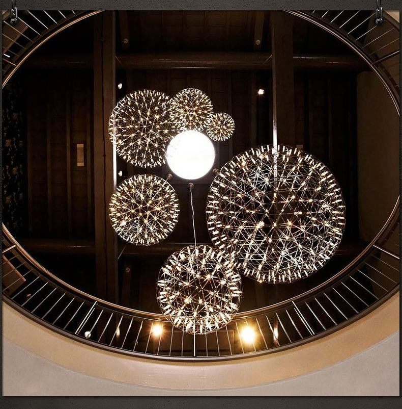 Factory price modern led vintage firework chrome Stainless Steel ball chandelier pendant light led gold chrome spark ball light