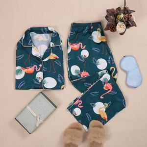 Animal Printed Cute Summer Silk Pajamas Women Satin Ladies Sleepwear Set For Plus Size Women
