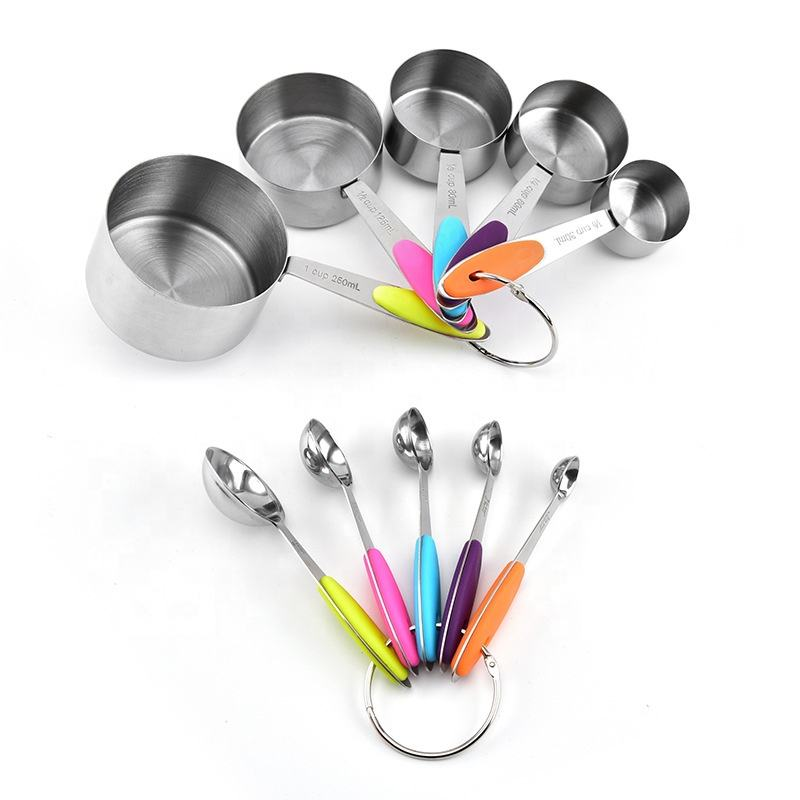 10 piece set silicone handle stainless steel kitchen baking measuring cups and spoons