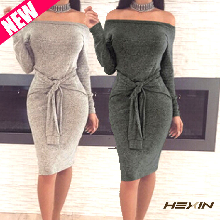 Latest Design Long Sleeve Sexy Off Shoulder Bodycon Dress Female Fashion Casual Women Clothing
