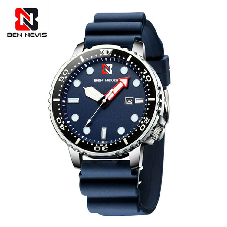 Ben Nevis BN3010G Fashion Analog Quartz Watch with Date Military Watch Waterproof Silicone Rubber Strap Wristwatch for Man