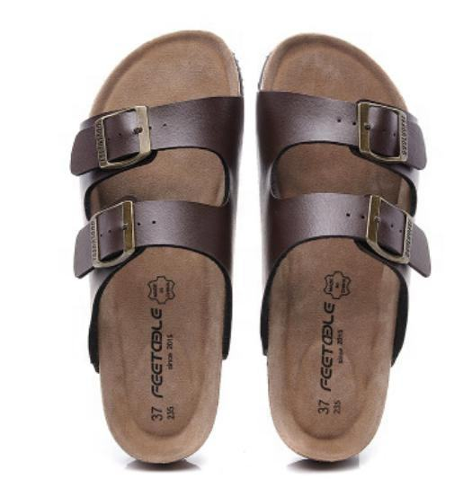 2020 newest high quality cow suede soft cork women men sandals comfortable flat slides buckle shoes beach slippers plus size
