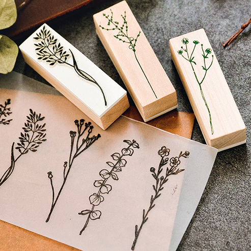 Decorative Wooden Stamps with Leaf Plant Pattern, Rubber Stamp Set for Scrapbooking DIY Card Making