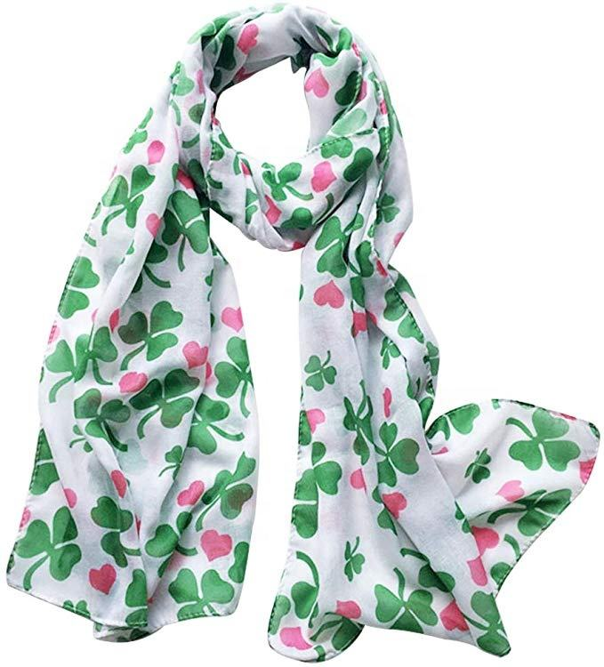 Ireland ST Patricks Day Green Leaf Scarf Shamrock Scarf