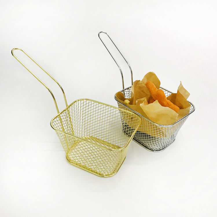 Metal Wire Mini Fry Serving French Fries Mesh Potato Basket