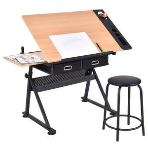 Height Adjustable home office Tiltable Study Reading Painting Art with Storage Drawer Drafting Desk Drawing Table