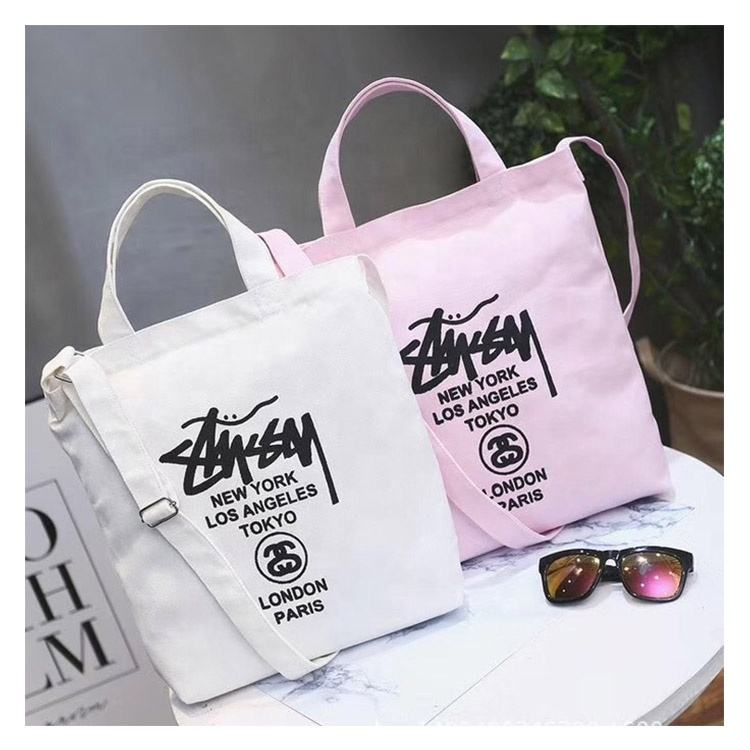 Fashion Text Style 10pcs Moq Customized Logo Pink White Girl Women Custom Cotton Canvas Tote Bag