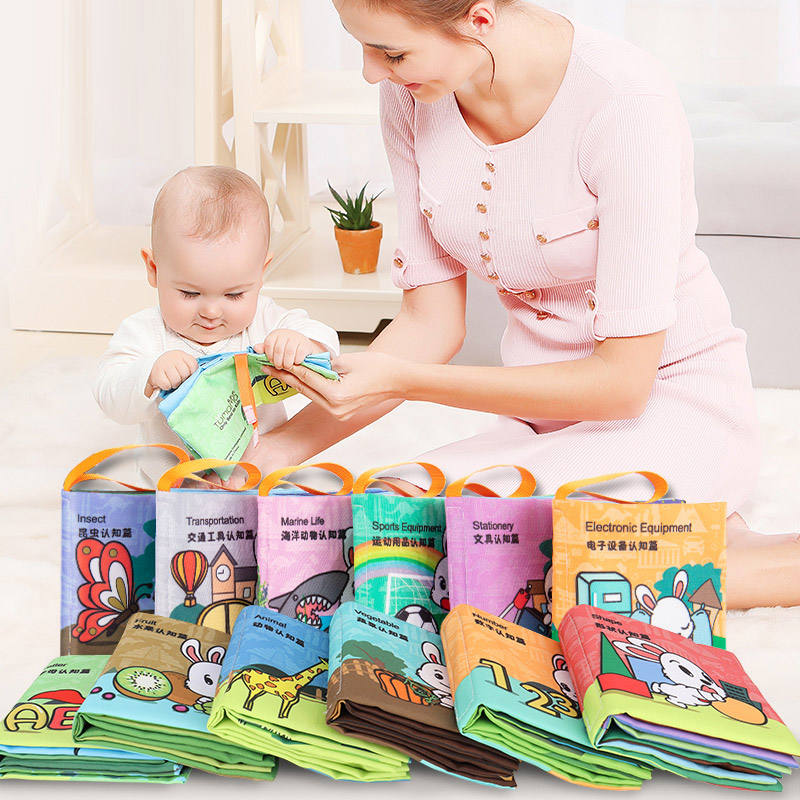 washable soft story educational crinkle cloth baby book