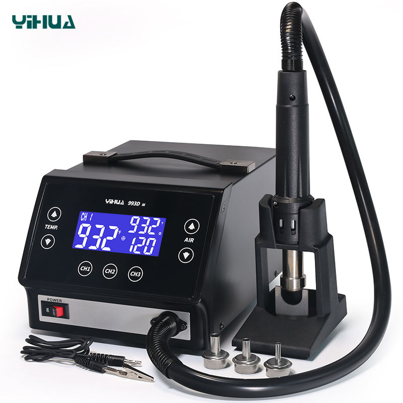 YIHUA 993DM professional lead-free touch screen hot air desoldering rework station 1000 W hot air soldering station