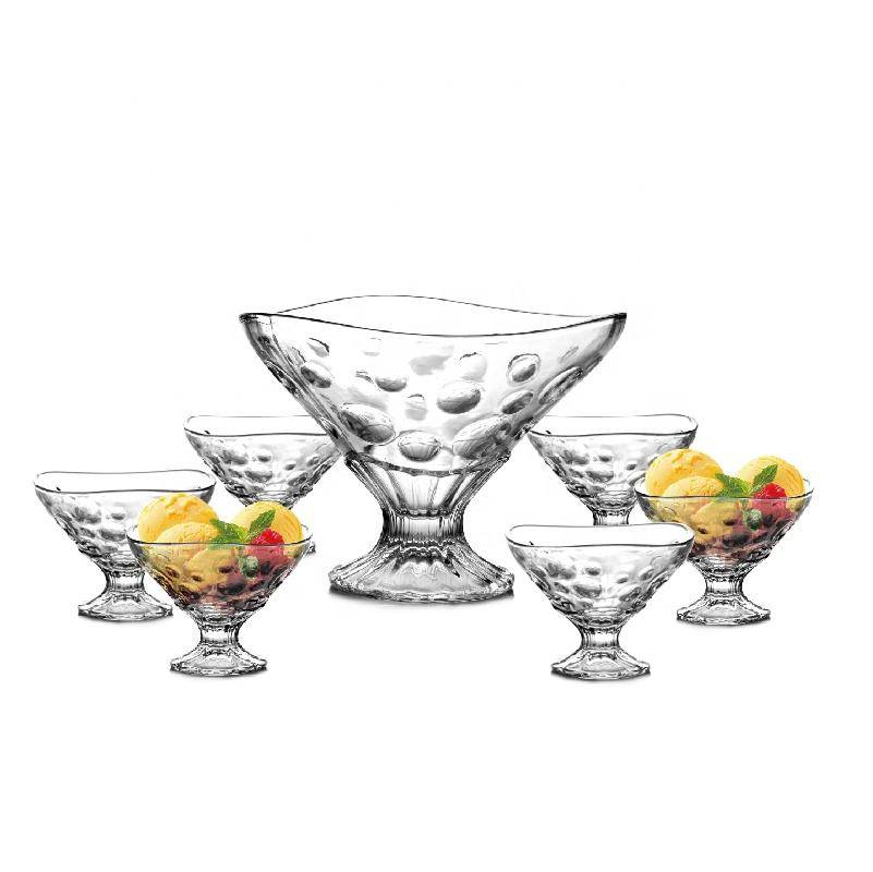Wholesale Classical Design Footed Salad Mixing Sauce Serving Ice Cream Bowl Set Cheap Dinner Fruit Cheap Bubble Glass Bowl