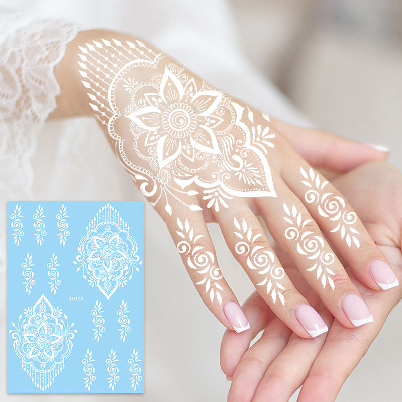 actory supply White lace Haina tattoo water transfer paper Black Temporary tattoo