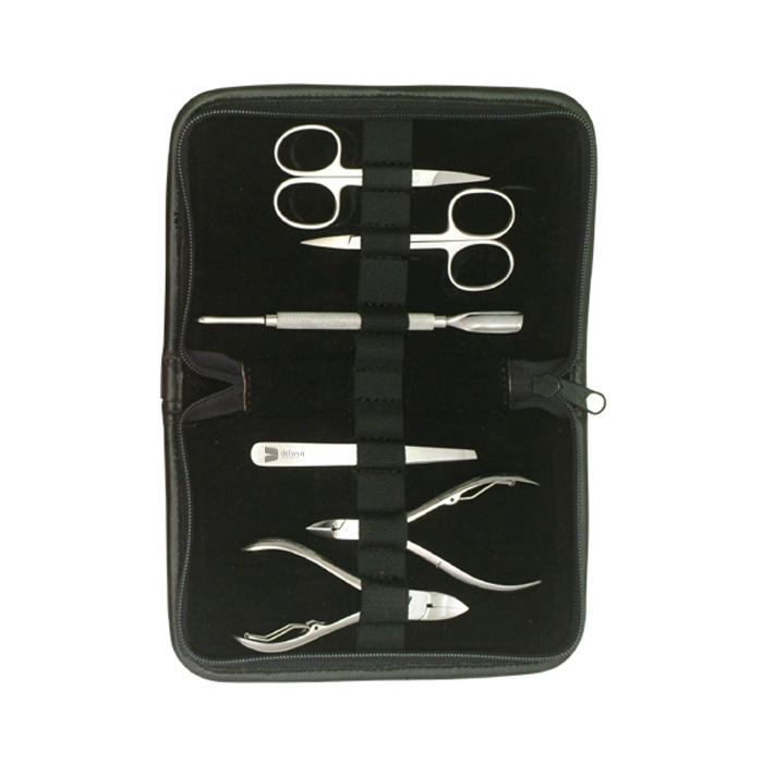 unisex makeup Tools instruments in manicure Set With Nail Cutter Cuticle pusher Nose Scissor Nail file Black Leather Travel kit