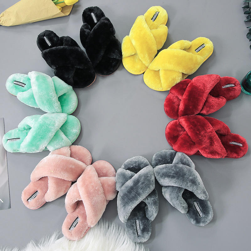 Women's Soft Plush Lightweight House Slippers Non Slip Cross Band Slip on Open Toe Cozy Fur Slides Slippers