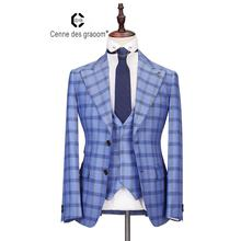Brand new design custom brand blue fashion casual coat man suit set