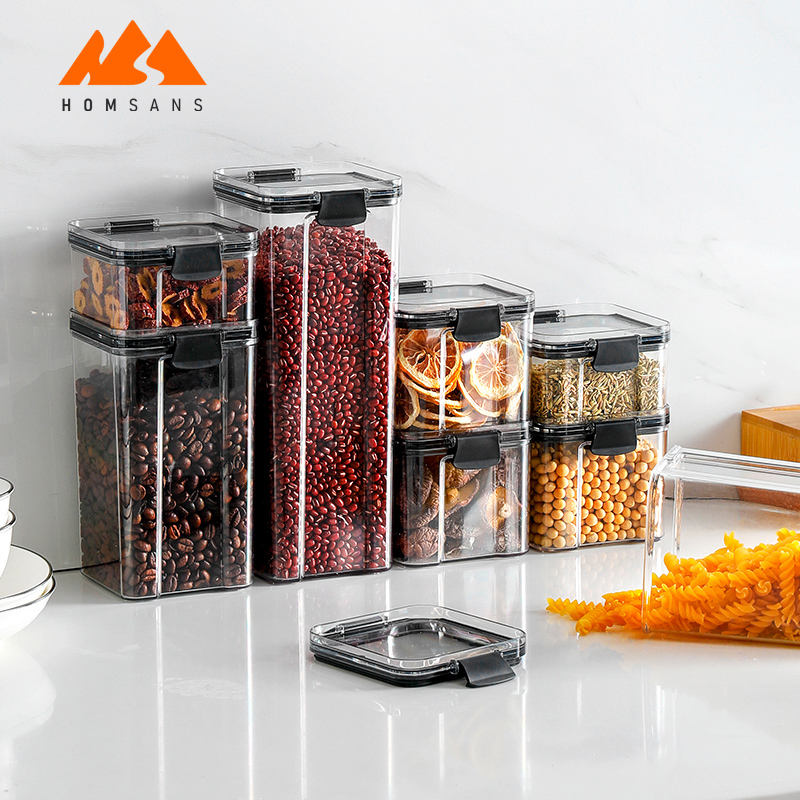 Eco friendly BPA free plastic fridge food container set meal prep clear food pantry storage with lids
