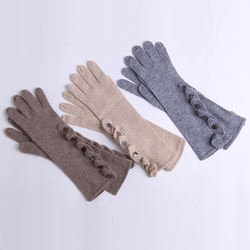 Pure Color Warm French Women Cashmere Long Gloves