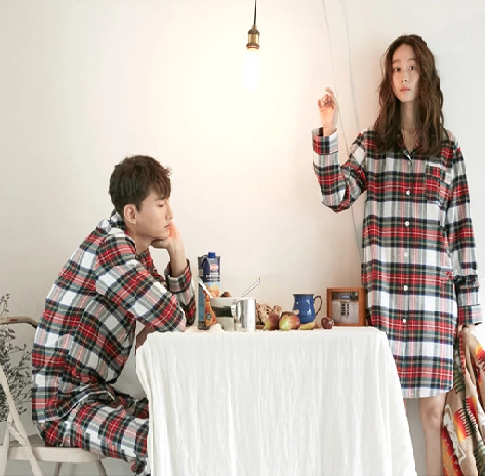 Wholesale manufacture women's cotton plaid print nightshirt comfy men pajama sets nightwear nightgown nightdress for couples