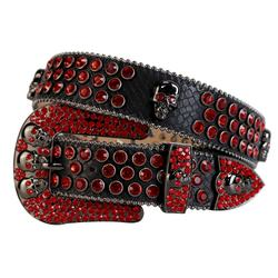Western Cowboy Bling Bling Rhinestones Belt Skull Conchos Studded Belt Three Removable Buckle for Women and Men