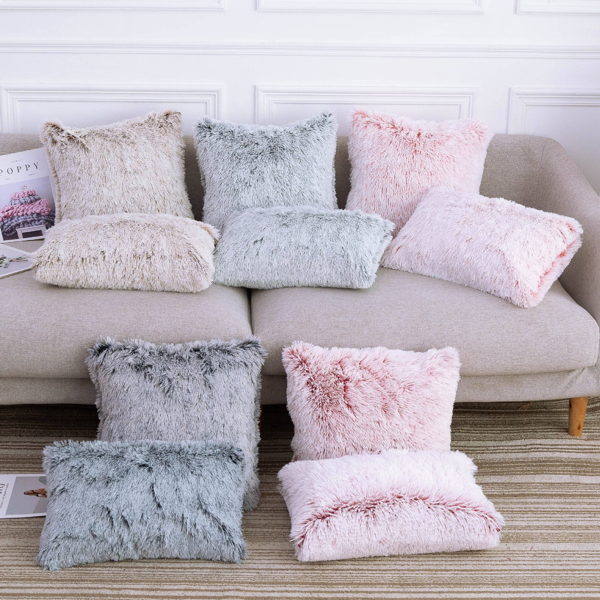 Home Sofa Decorative Faux Fur Pillow Cushion Soft Fluffy Sherpa Wool Pillow Cover