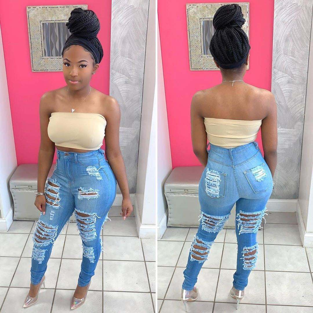 Classic Style Ripped Women Denim Jeans Casual Skinny Jeans Distressed Design High Waist Pants For Women