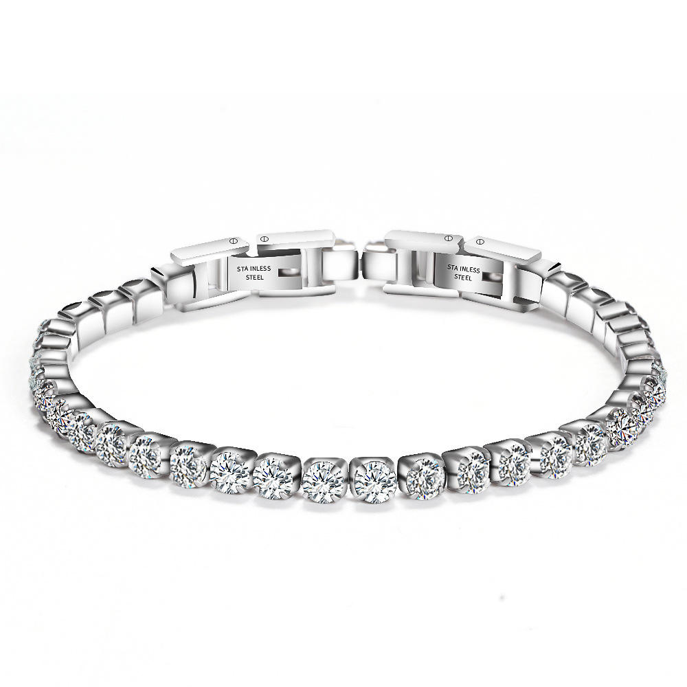 Wholesale Custom Men's Women Hip Hop Jewelry 3mm Cubic Zirconia CZ Stone Iced Out Stainless Steel Diamond Tennis Chain Bracelet