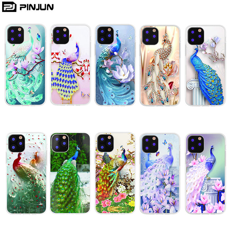 2mm material tpu processing Varnish Emboss Peacock Phone Case For iPhone 11 2019 Custom Mobile Cover