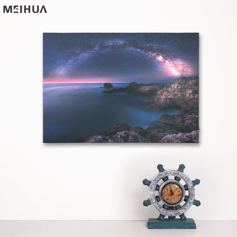 Wall decoration scenery custom canvas picture with led light art