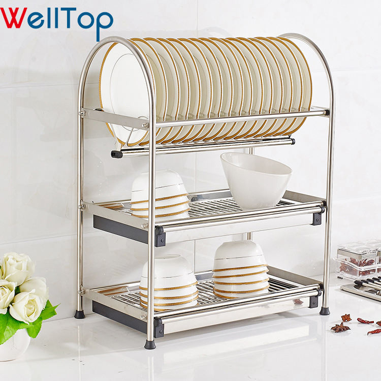 Kitchen Storage Rack 2020 Storage Kitchen Accessories 2 Tiers Dish Drainer Drying Rack For Dishes Vt-09.003