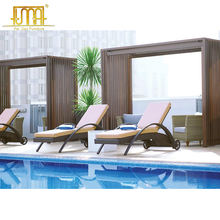 hotel outdoor furniture pulley move wicker swimming pool lounge chairs sun lounger bed