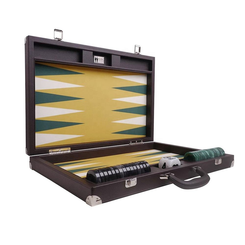 21 Inch Professionele <span class=keywords><strong>Backgammon</strong></span> Set Game Board Lederen <span class=keywords><strong>Backgammon</strong></span>