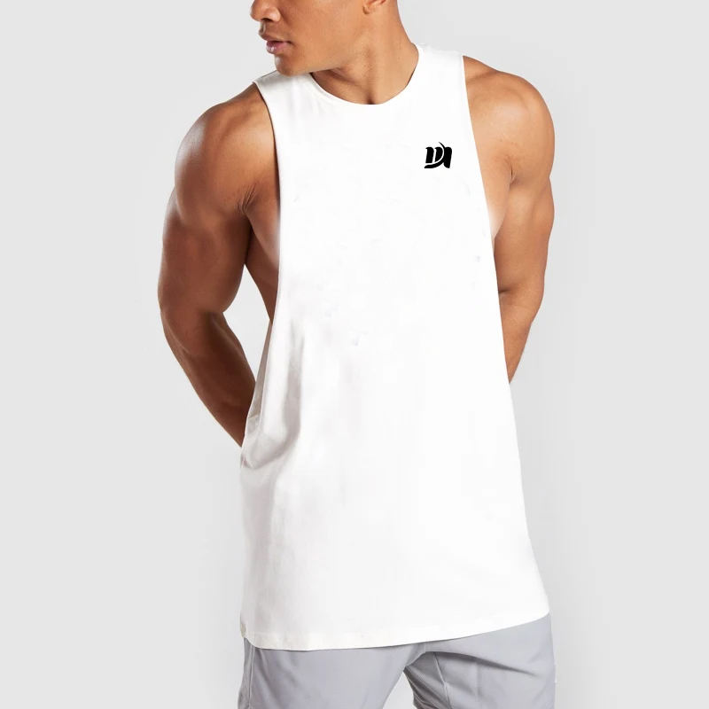 Soft Stretch 95% Cotton 5% Elastane Tank Top Summer Tapered Fit Athletic Gym Tank Top