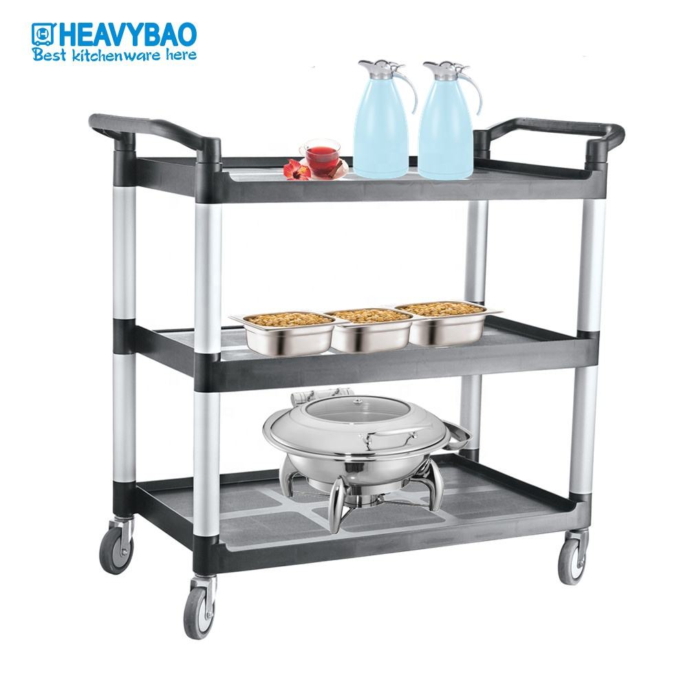 Heavybao Commercial Hotel Equipment Plastic Galley Cleaning Serving Food Trolley For Restaurant Service