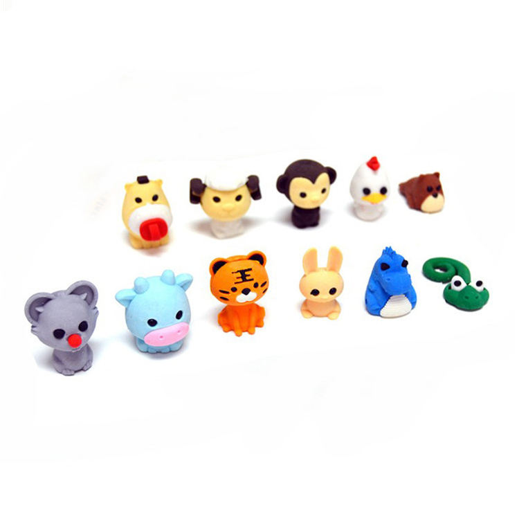 2021 Mini Animal Shaped Custom Rubber Fancy Cute 3D pencil eraser For Gift